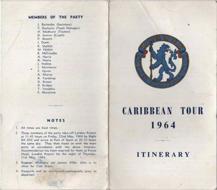 Chelsea Caribbean Tour 1964 Itinerary